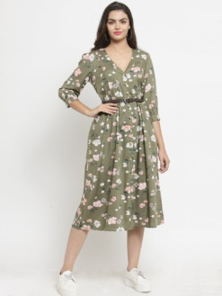 PURPLICIOUS OLIVE GREEN PRINTED FIT AND FLARE DRESS WITH BELT