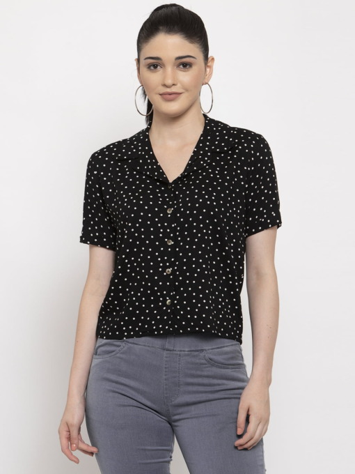 Black and off white polka dots shirt by Purplicious
