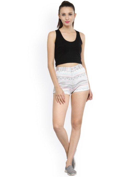 Women White Printed Slim Fit Hot Pants