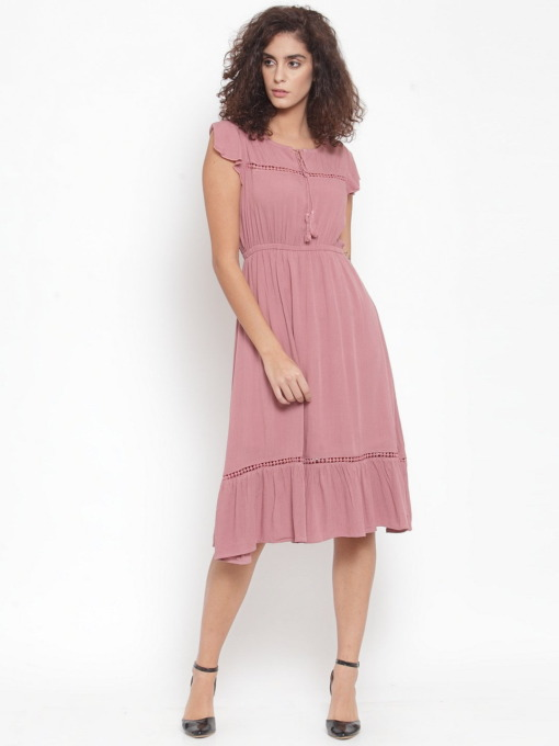 Purplicious Women Pink Solid Fit and Flare Dress