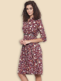 Burgundy & Beige Printed Fit and Flare Dress with Belt for Women By Purplicious