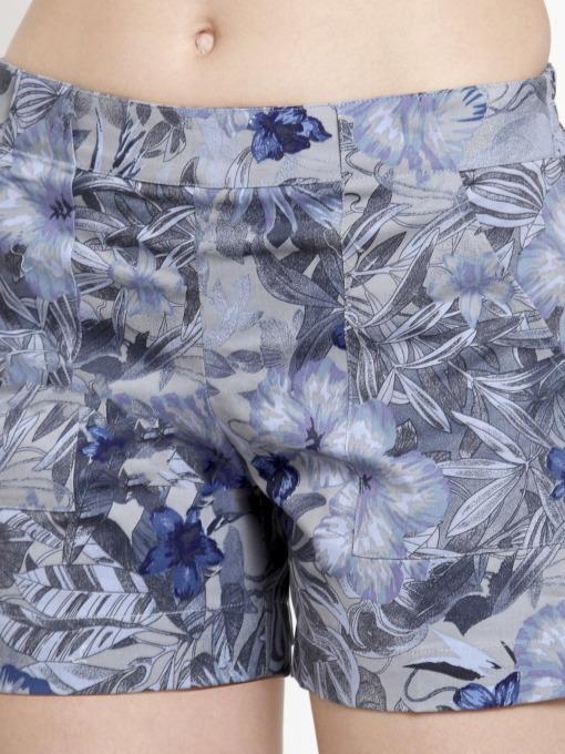 Purplicious Women Grey Printed Regular Fit Regular Shorts