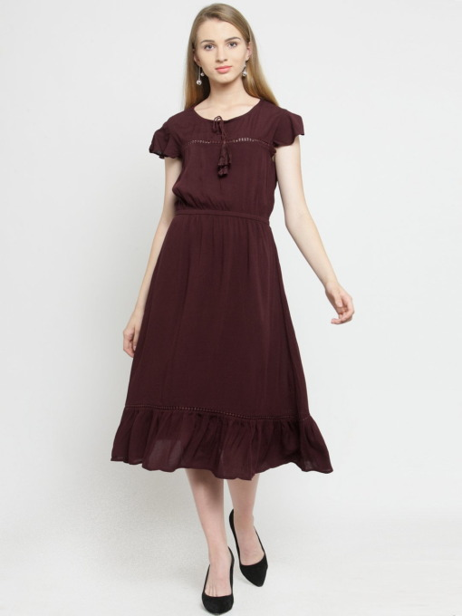 Purplicious Women Burgundy Solid Fit and Flare Dress