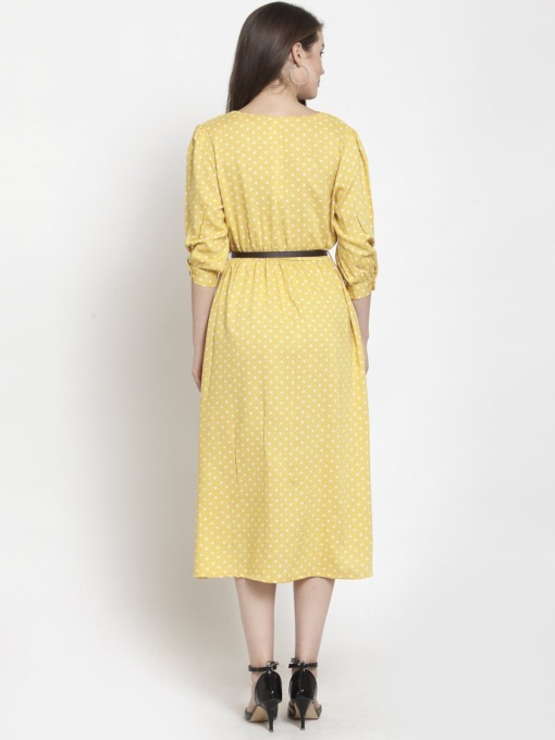 Yellow Green Printed Floral Fit and Flare Dress-With Belt by Purplicious