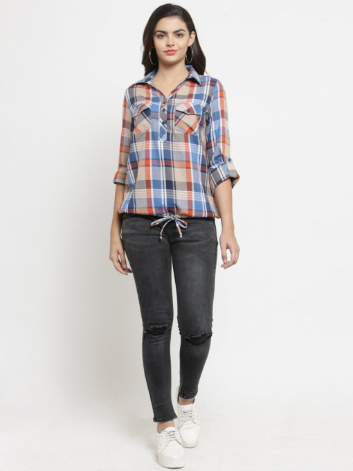 Purplicious Women Multicoloured Comfort Regular Fit Checked Casual Shirt