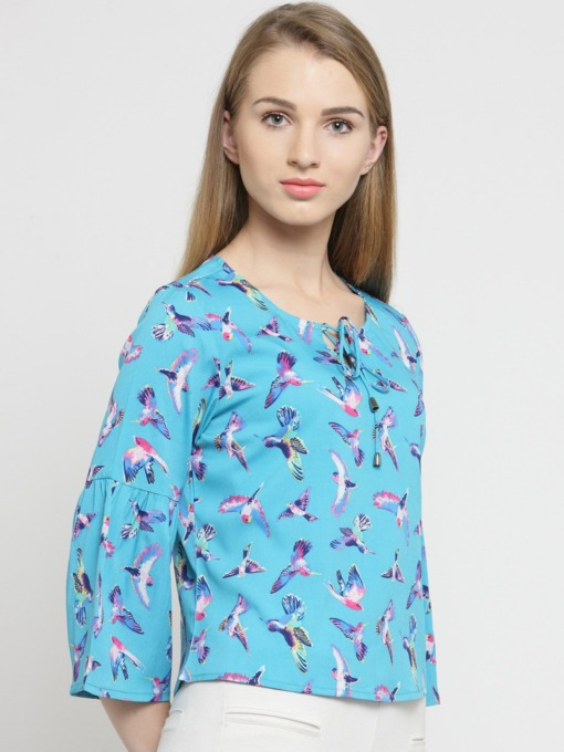 Purplicious Women Turquoise Blue Printed Top