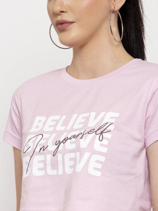 Believe In Yourself Light Pink Crop Top 1