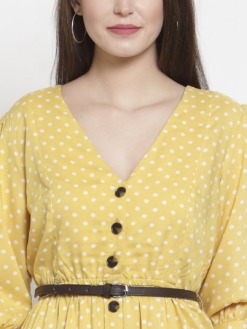 Yellow Polkadot Fit and Flare Dres with Belt by Purplicious