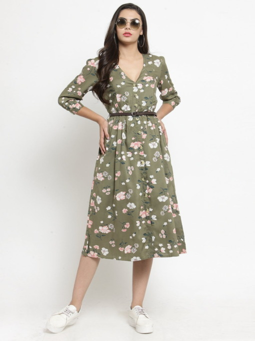 Olive Green Printed Floral Fit and Flare Dress