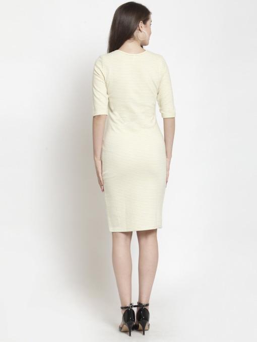 Purplicious Women Yellow Striped Bodycon Dress