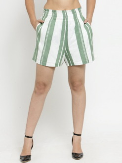 PurliciousWomen Green Striped Loose Fit Regular Shorts