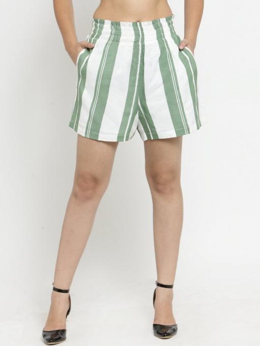 PurliciousWomen Green Striped Loose Fit Regular Shorts