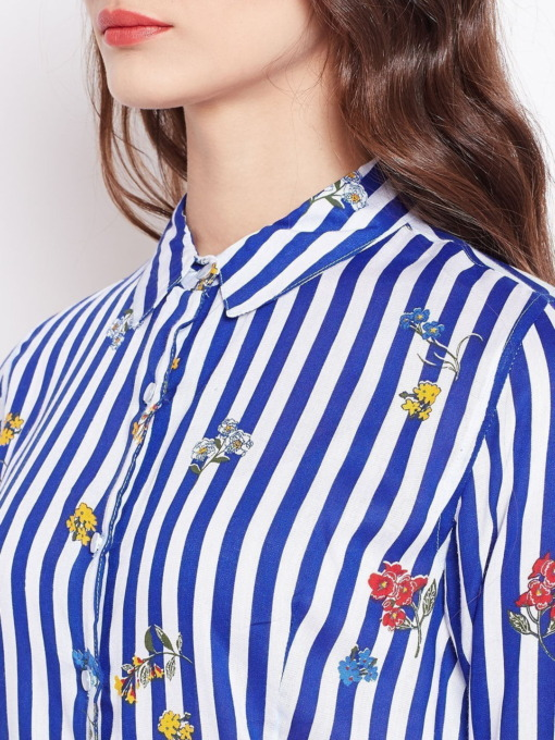 Purplicious Blue and White Floral Striped Casual fit Shirt