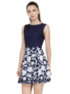 Navy Blue Printed Fit and Flare Dress