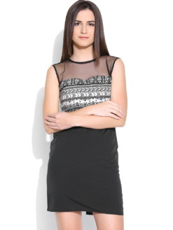 Purplicious-Black-Printed-Shift-Dress