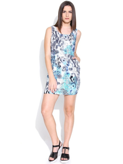 Purplicious-Blue-Printed-Tailored-Dress With Pockets