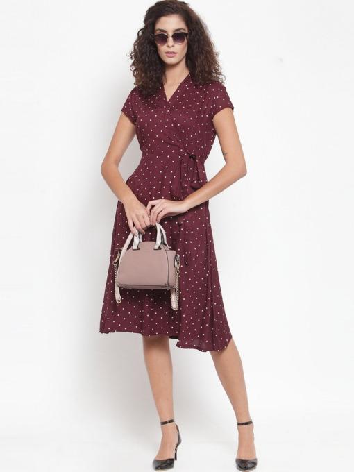 Purplicious Burgundy & White Printed Wrap Dress