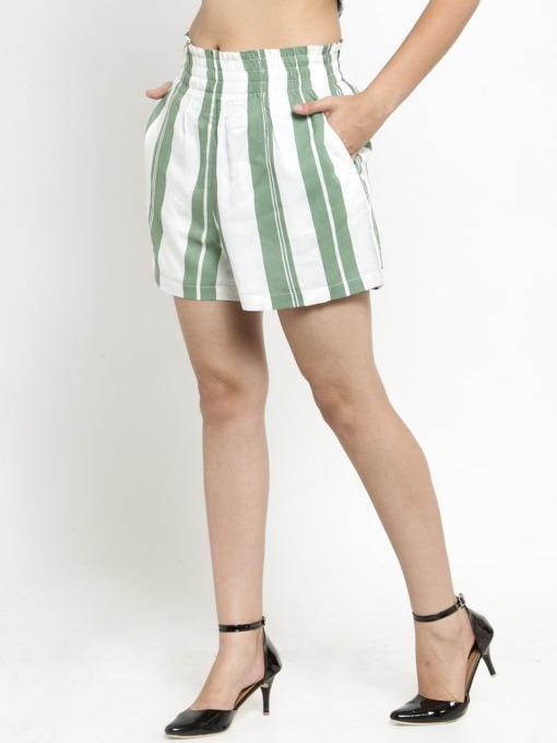 Purplicious Women Green Striped Loose Fit Regular Shorts