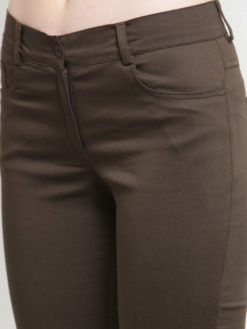 Purplicious Women Olive Brown Solid Three-Fourth Length Jeggings